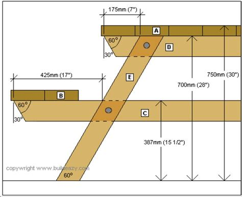 measurements metric   picnic table plans