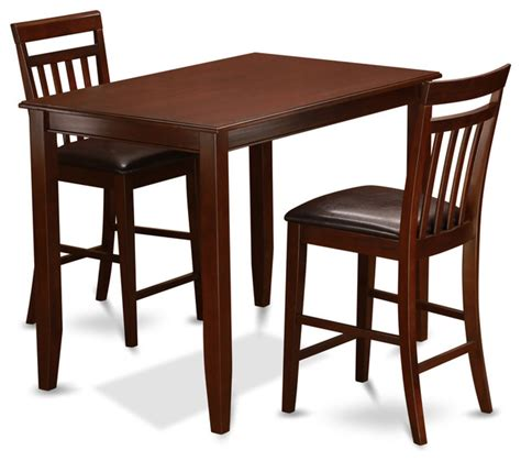Indoor Bistro Table And 2 Chairs Buew Mah Kitchen Table Set Transitional Indoor Pub And Bistro Sets By Dinette4less
