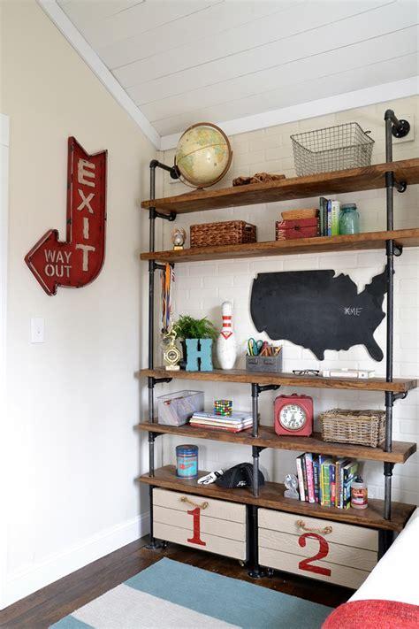 industrial shelves   boys room beneath  heart