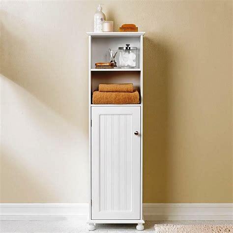 slim bathroom floor toiletry storage cabinet bruin