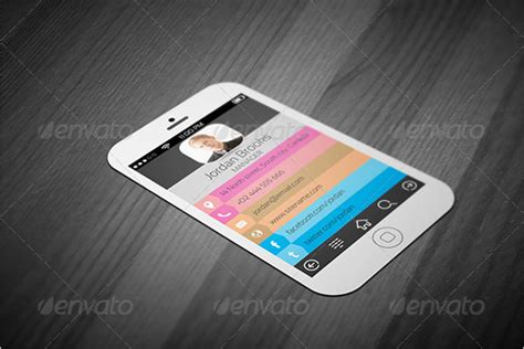 iphone ios 7 flat ui style business card template fully
