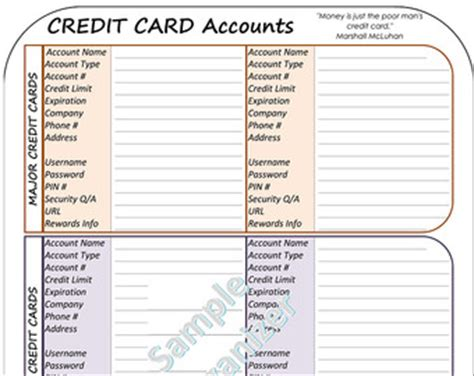 Credit List Template Budget Organizer Debt Payoff Tracker Personal Finance