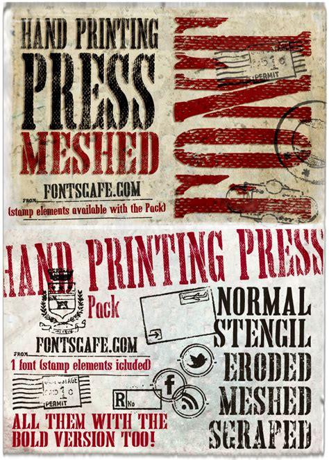print press font hand printing press meshed font dafont com