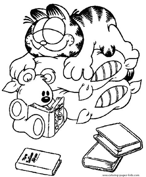 Garfield Color Page Coloring Pages For Kids Cartoon