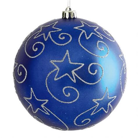 large blue star shatterproof ornament christmas tree