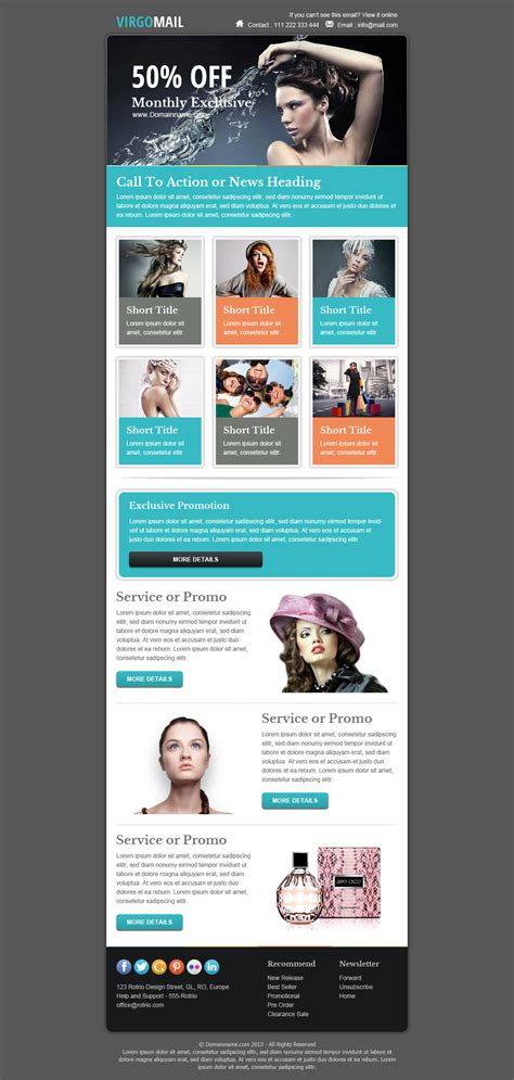 Virgomail Email Marketing Newsletter Template By Pophonic Themeforest Email Ad Template