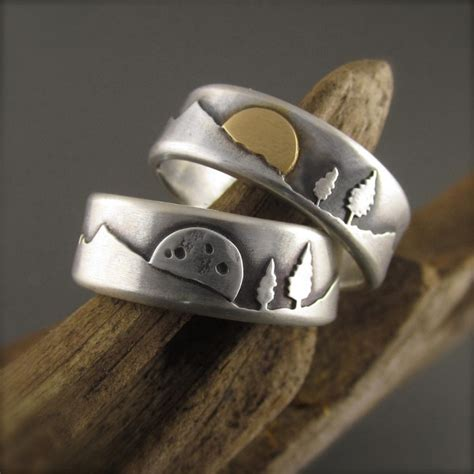 Wedding Ring Nature by Gold Silver Mountain Pines Wedding Ring