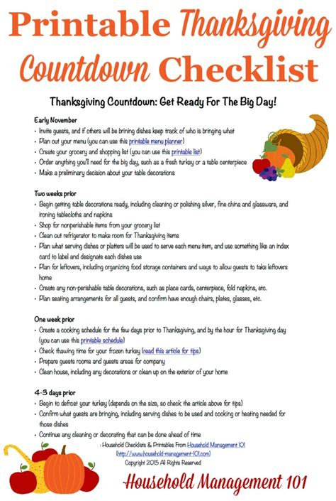 Thanksgiving Countdown Plan For A Great Day Includes Free Printable Thanksgiving Checklist Template