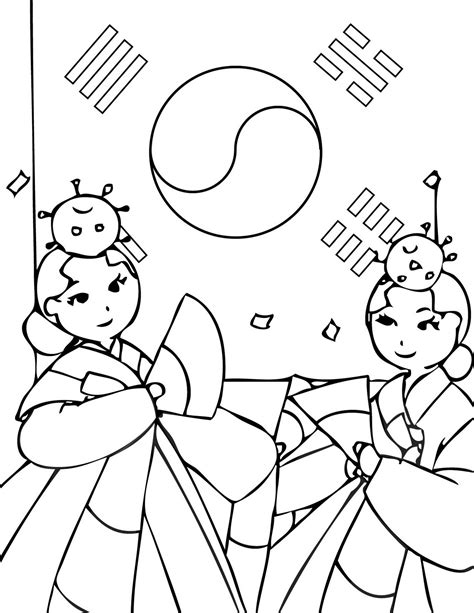 Korea Coloring Page The Cutest Korean Coloring