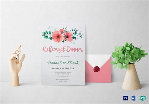 Floral Rehearsal Dinner Invitation Design Template In Word Psd Publisher Microsoft Word Rehearsal Dinner Invitation Template