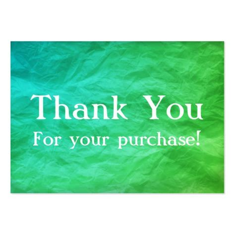 thank you for your business card template green teal thank you for your purchase cards large