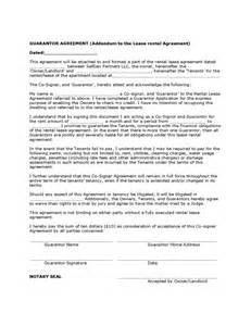 rent guarantor form template guarantor agreement sle form free
