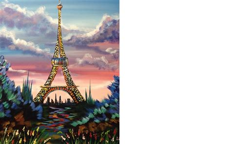 beginners acrylic painting eiffel tower with stunning tutorial