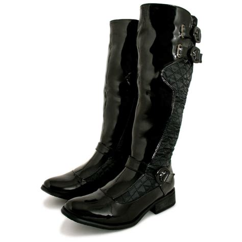 womens black patent leather patent quilted flat knee high