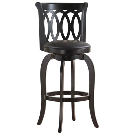 wood swivel bar stools with backs glossy chrome metal pedestal base for white leather swivel