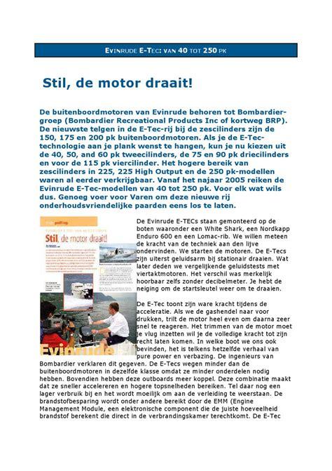 buitenboordmotor hoger hangen evinrude e tec 40 tot 250 pk by varen issuu