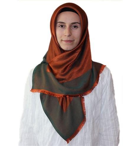 Turki Bonjela bonjela twill large square scarf reversible orange green hijabs squares and scarves