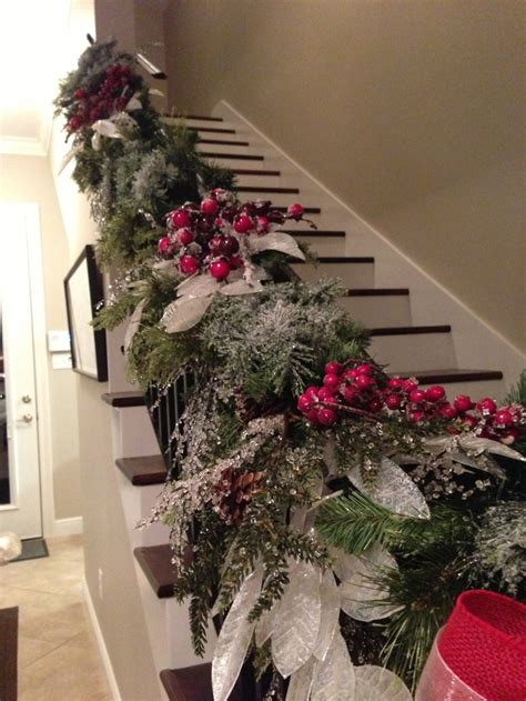 staircase christmas garland winter wonderland