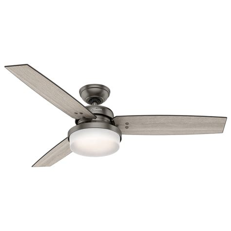 Ceiling Fan With Remote And Light Kit Shop Sentinel 52 In Brushed Slate Indoor Downrod Or