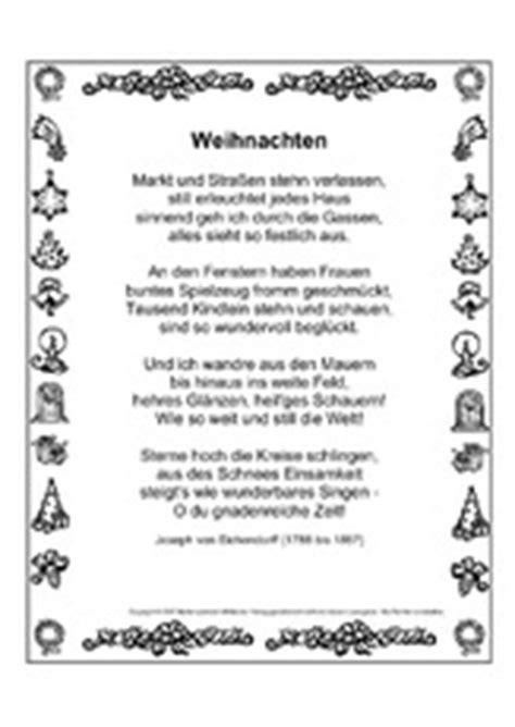 arbeitsblatt in der grundschule gedichte weihnachten