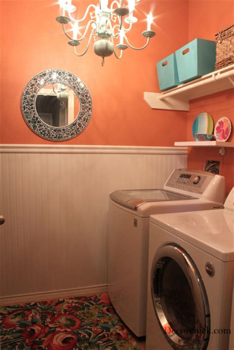 orange laundry room decorating before and after makeovers