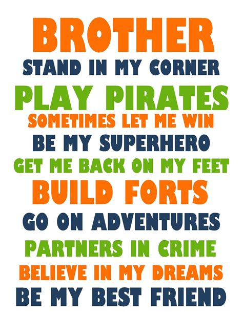 printable brother quotes brothers quote printable boys room pinterest