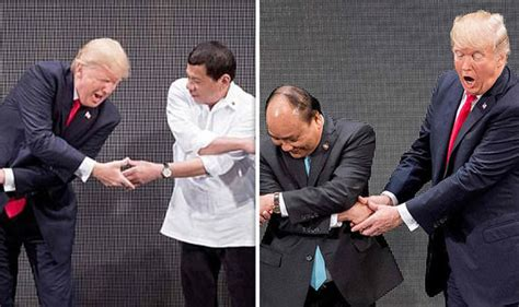 donald trump handshake donald trump takes part in awkward group handshake with
