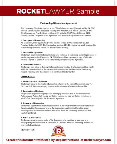 Partnership Dissolution Agreement Form With Sle Llc Separation Agreement Template
