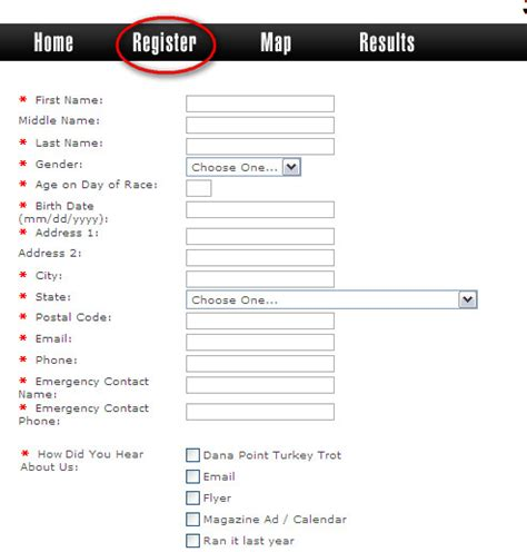 race registration form template registration form template