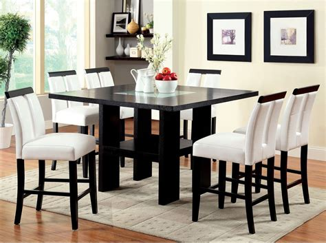 white leather dining room set dining room set counter height chairs black white faux