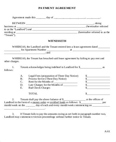 Car Payment Agreement Form Free Download Chlain College Publishing Rent Payment Agreement Template