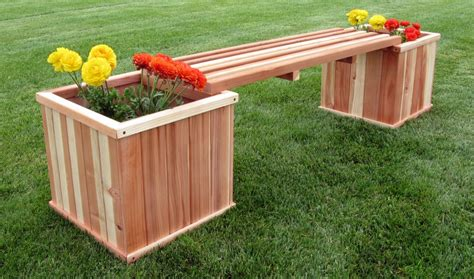 wood planter bench humboldt redwood 18 square planter box bench combo kit