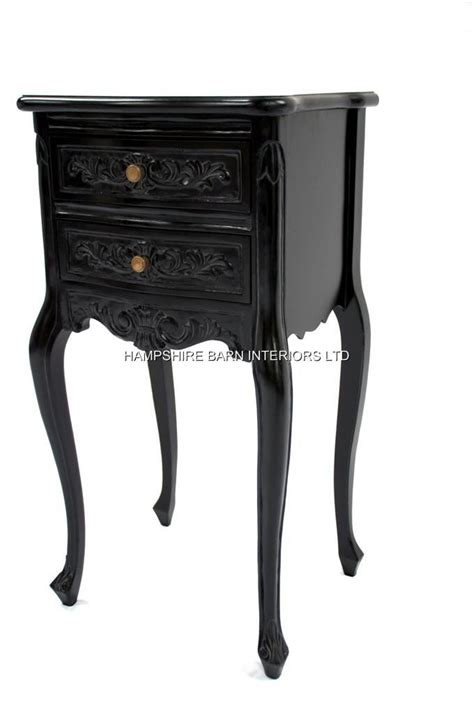 black french bedside chateau french style black painted noir bedside or