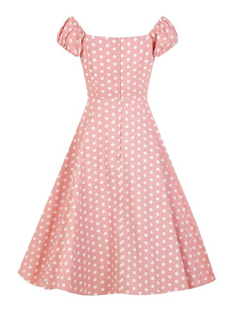 polka dot swing dress vintage 50s style dolores pastel pink polka dot swing