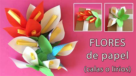 como hacer calas en papel crepe flores de papel lirios o calas para adornar regalos youtube