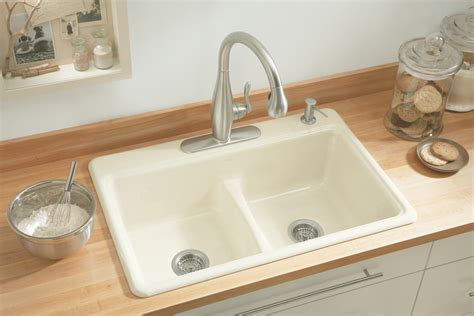 kohler kitchen sinks kohler k 5838 4 0 deerfield smart divide self rimming