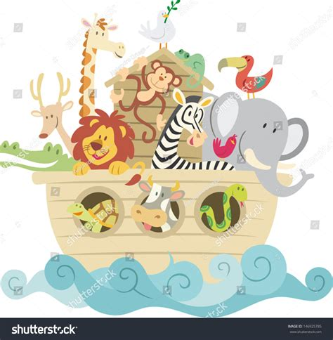 Monkey Wall Stickers childish style illustration noahs ark on stock vector