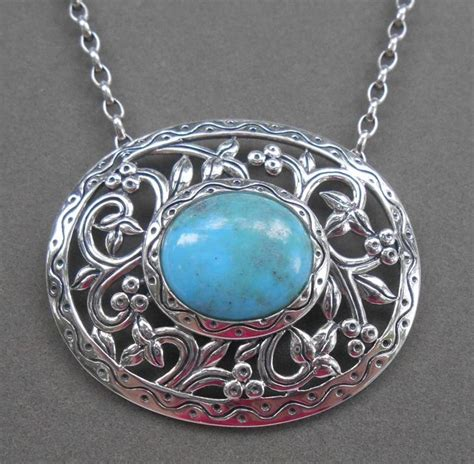 southwestern sterling silver turquoise openwork necklace pendant from qvc ebay