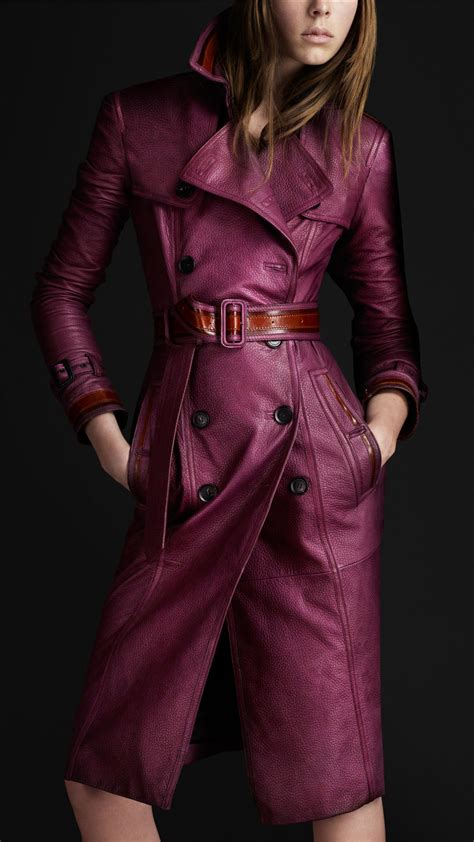 Burberry Style Leather burberry prorsum grainy leather trench coat