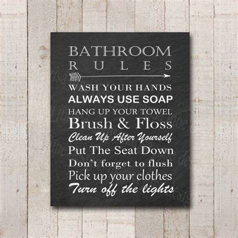 bathroom rules signs bathroom rules printable sign 4 color options over