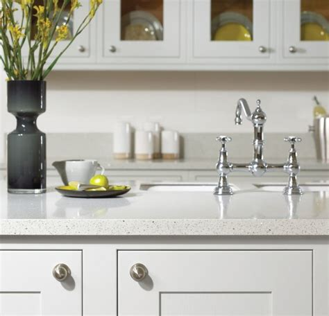 white kitchen with recycled glass countertop