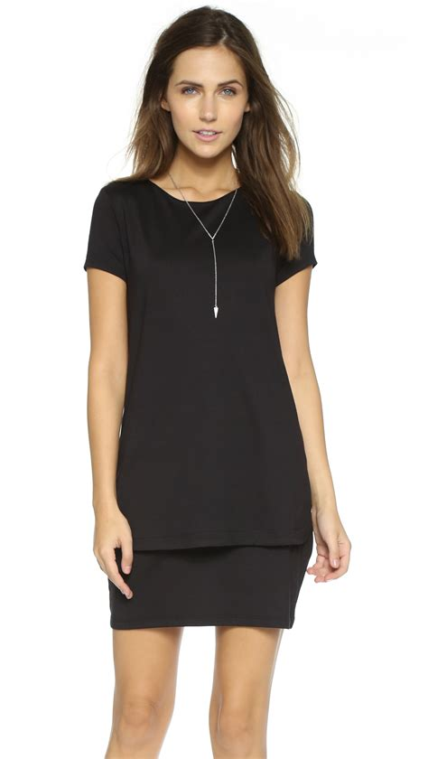Layered Dress susana monaco bri layered shift dress in black lyst