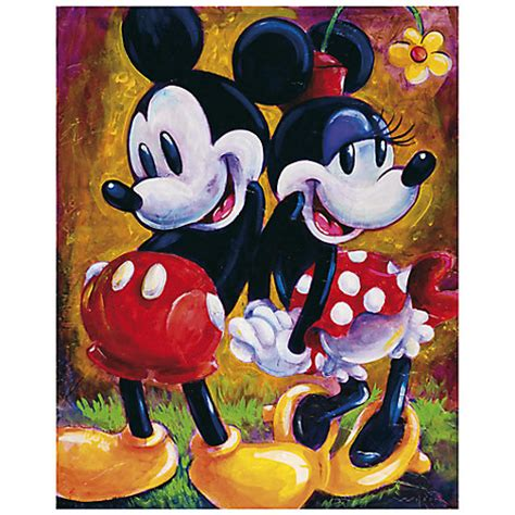 mickey mouse painting mickey mouse and minnie two hearts gicl 233 e by darren
