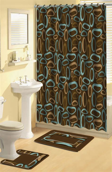 Bathroom Sets With Shower Curtain And Rugs And Accessories Home Dynamix Bath Boutique Shower Curtain And Bath Rug Set 325 Oval Rings Shower Curtain Sets