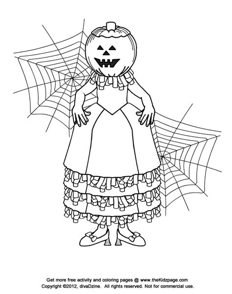 Jackolantern Girl Halloween Free Coloring Pages For O Lanterns Coloring Pages