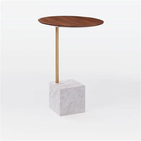 Cube Side Table Cube Side Table Walnut White Marble West Elm Au