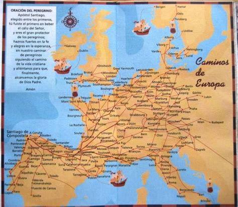 camino way map camino de santiago map all the european routes map via