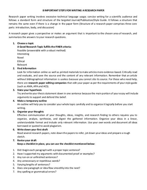 steps for writing a paper 8 important steps for writing a research paper
