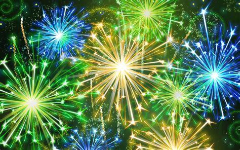 colorful fireworks yellow green blue flash desktop