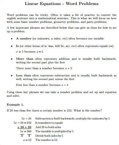 Equation Word Problem Worksheet by Sle Word Problem Worksheet 9 Exles In Pdf Word